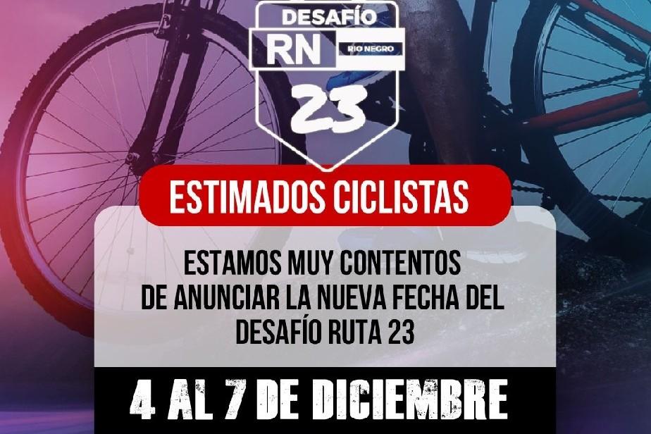 """Se reprogramó para diciembre la prueba ciclística """"Desafío Ruta 23"""""""