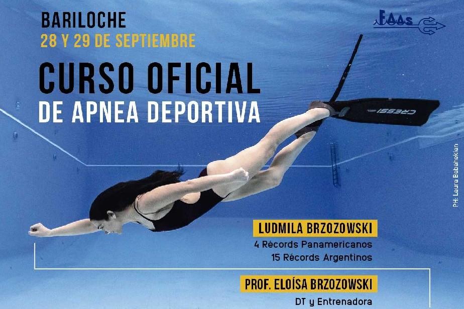 La destacada nadadora Ludmila Brzozowski transmite sus conocimientos de apnea en Bariloche